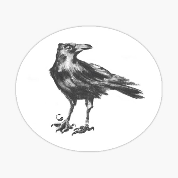 Rabe (Sticker) (Kohle / Charcoal Animals) Sticker