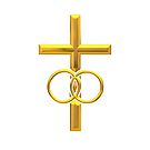 Golden 3-D Look Cross with 2 Wedding Rings by Artist4God