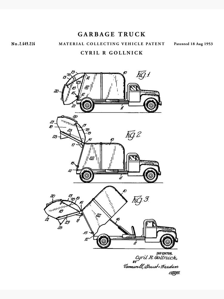 Garbage Truck Patent Drawing Blueprint Framed Print By Vintago