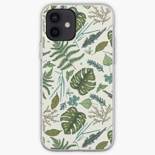 Green leaves pattern iPhone Soft Case