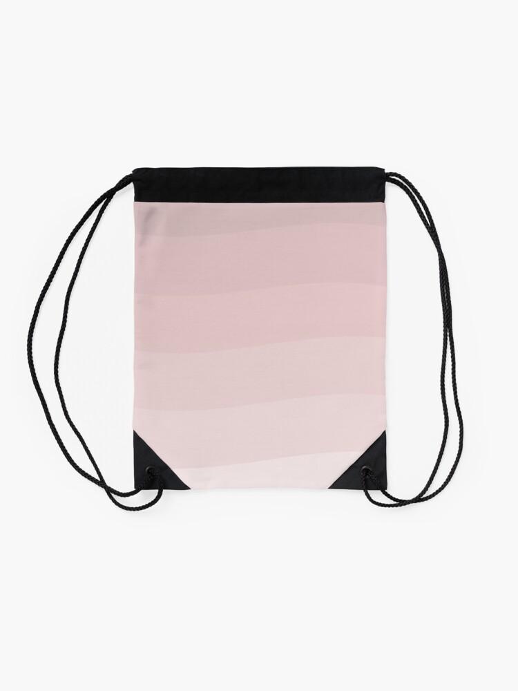 Alternate view of Pink wave. Drawstring Bag
