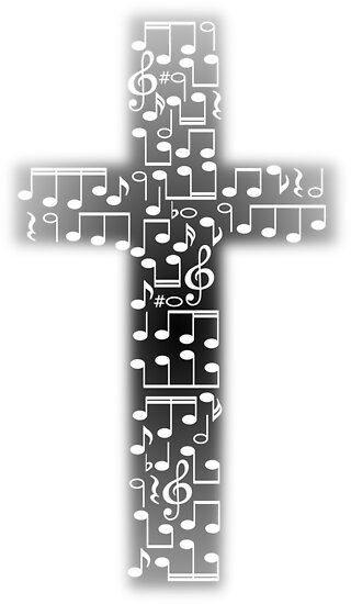 Black And White Music Note Cross Design By Lovesosilly