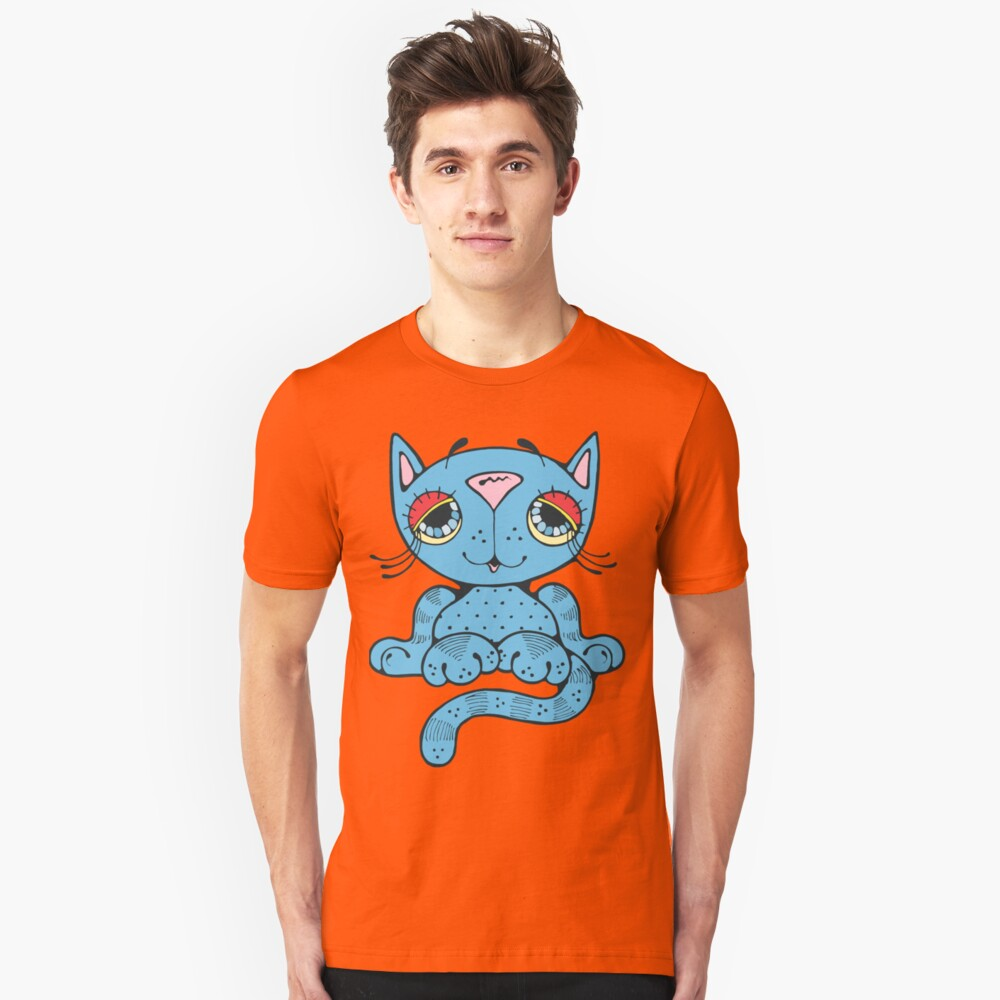 Blue Kitty Cat Unisex T-Shirt Front