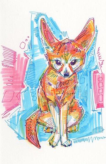Fennec fox drawing - 2016 by Gwenn Seemel