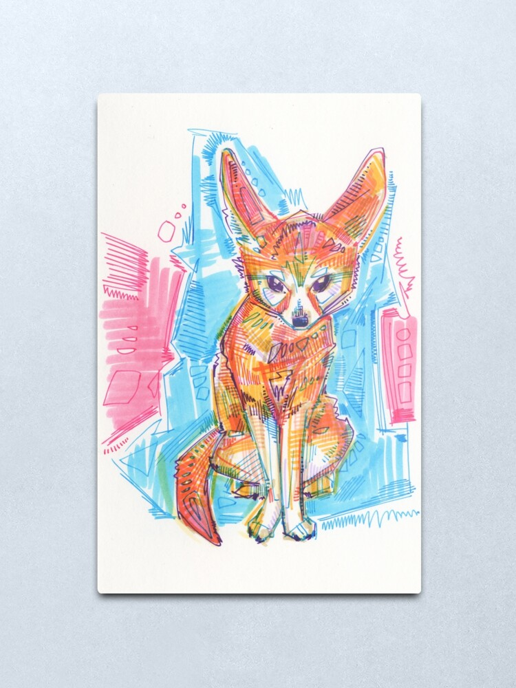 Alternate view of Fennec fox drawing - 2016 Metal Print