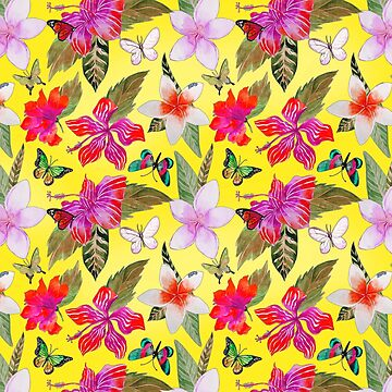Hawaiian Floral Print on Yellow by Greenbaby