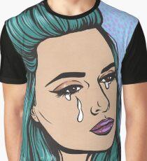 Teal Tears - Crying Comic Pop Art Girl Graphic T-Shirt