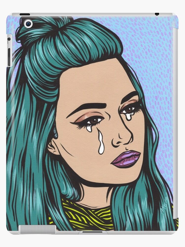 teal tears crying comic pop art girl ipad cases skins by turddemon redbubble. Black Bedroom Furniture Sets. Home Design Ideas