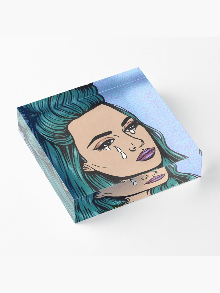Alternate view of Teal Tears - Crying Comic Pop Art Girl Acrylic Block