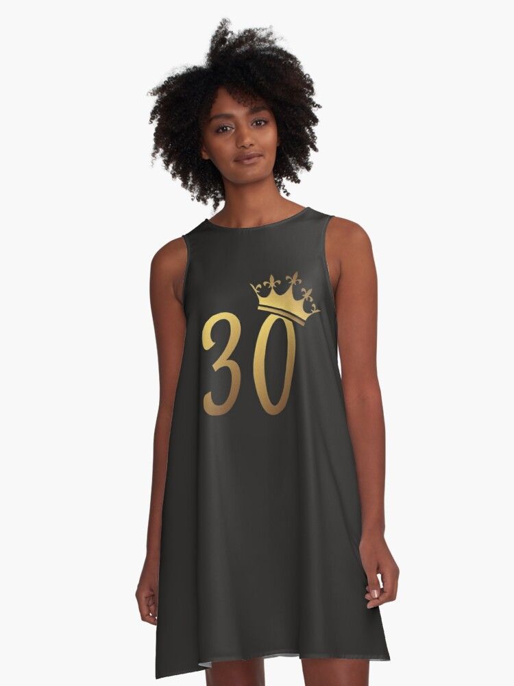 30th Birthday Queen 30 Year Old Girl Gold Party Gift A Line Dress