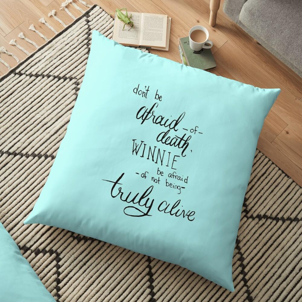 Don't Be Afraid Light Blue Floor Pillow