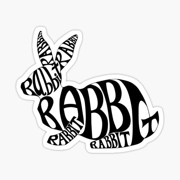 Black on White Rabbit Typography Word Art Sticker