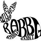Black on White Rabbit Typography Word Art by Brandy Sinclair