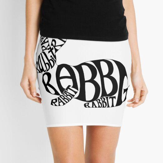 Black on White Rabbit Typography Word Art Mini Skirt
