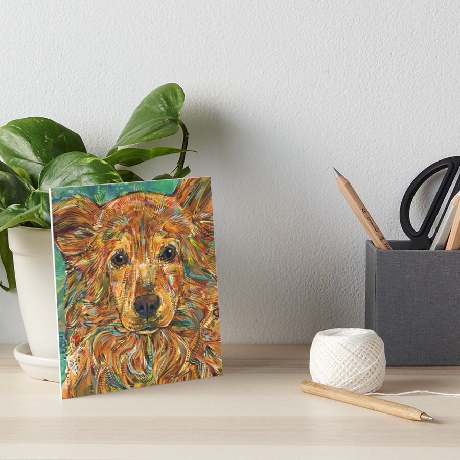 Golden Mixed Breed Dog Painting - 2017 Art Board Print