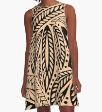 Light skin colored retro colored Hawaiian Polynesian tribal floral tattoo design A-Line Dress