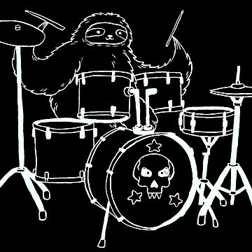 White Line Drum Set Sloth by SaradaBoru