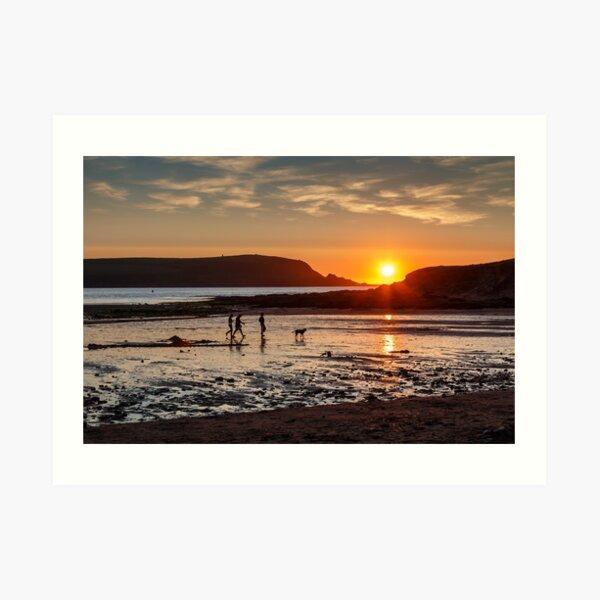 Daymer Bay, Cornwall sunset Art Print