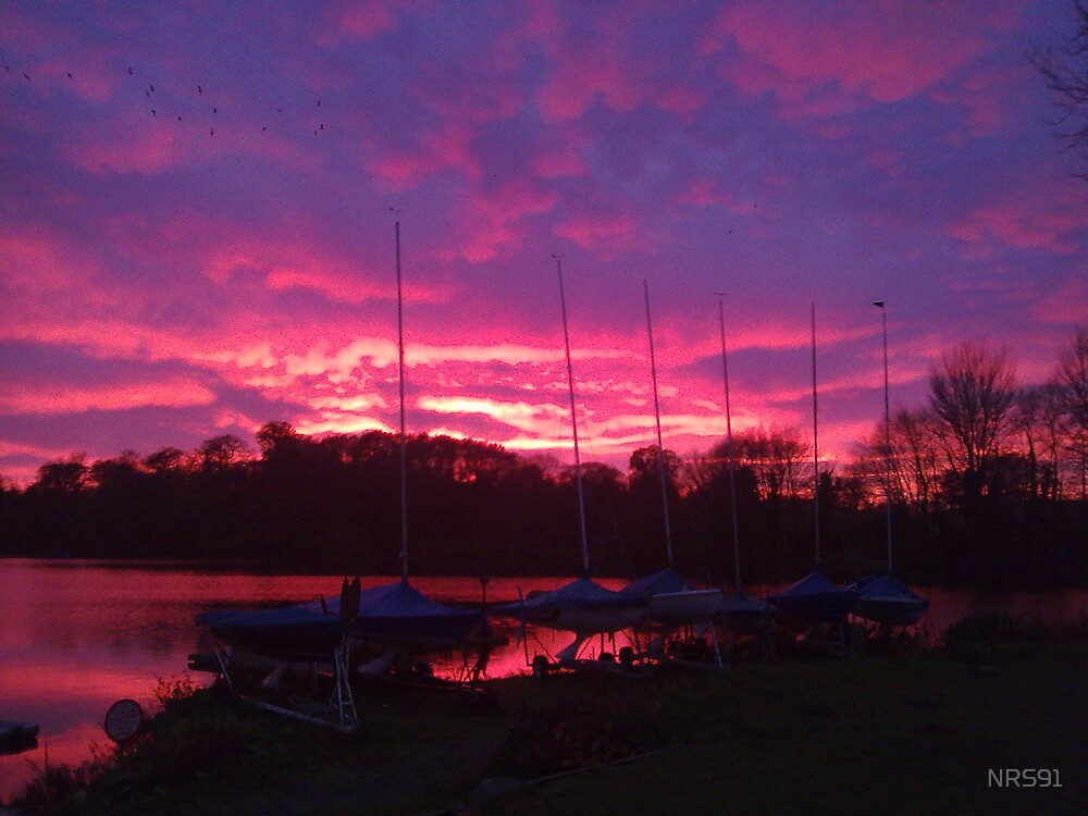 Sunset at Shropshire sailing club with flash by NRS91