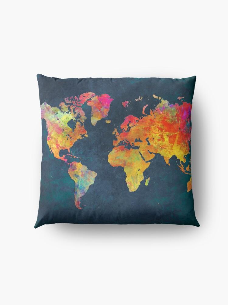Alternate view of World Map  Floor Pillow