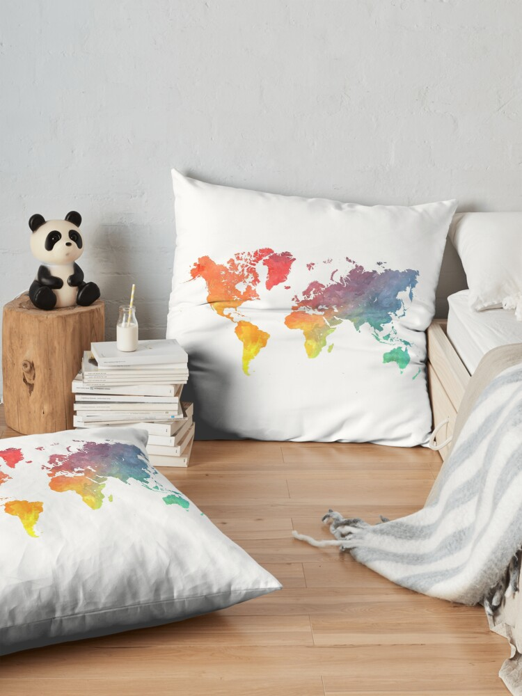 Alternate view of Map of the world colored Floor Pillow