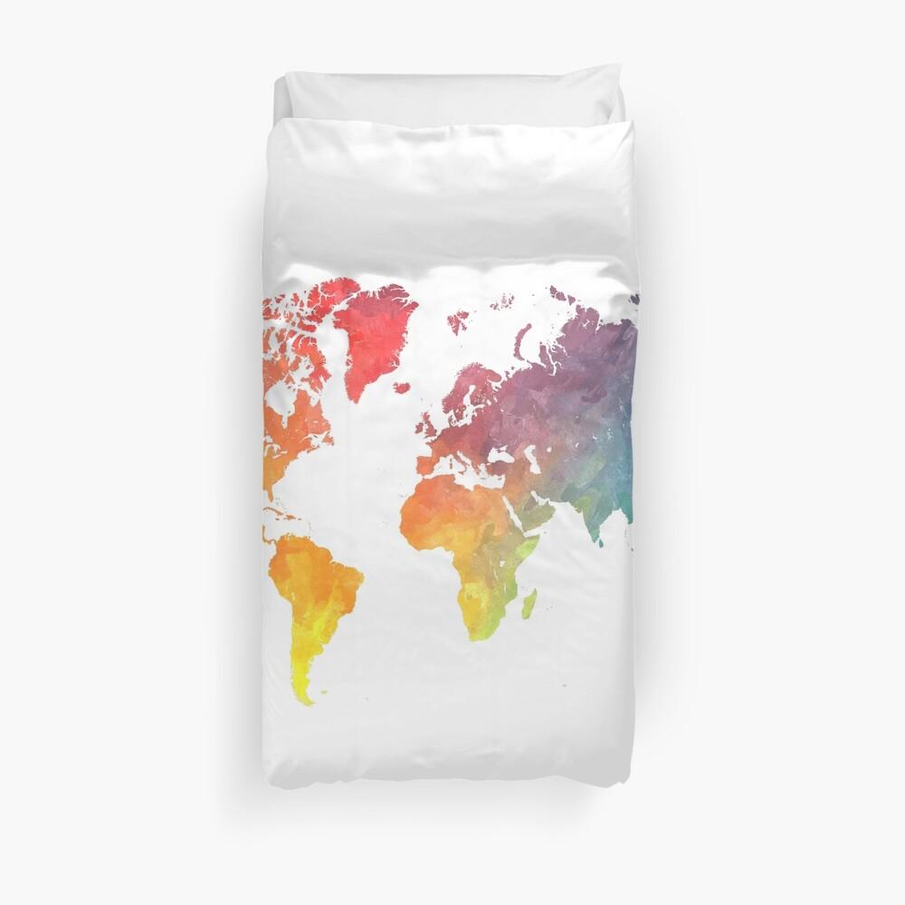 Karte der Welt gefärbt Bettbezug