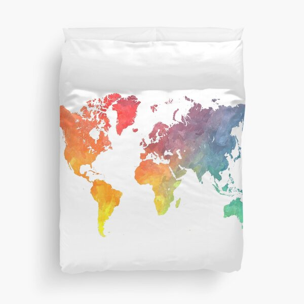 Map of the world colored Duvet Cover