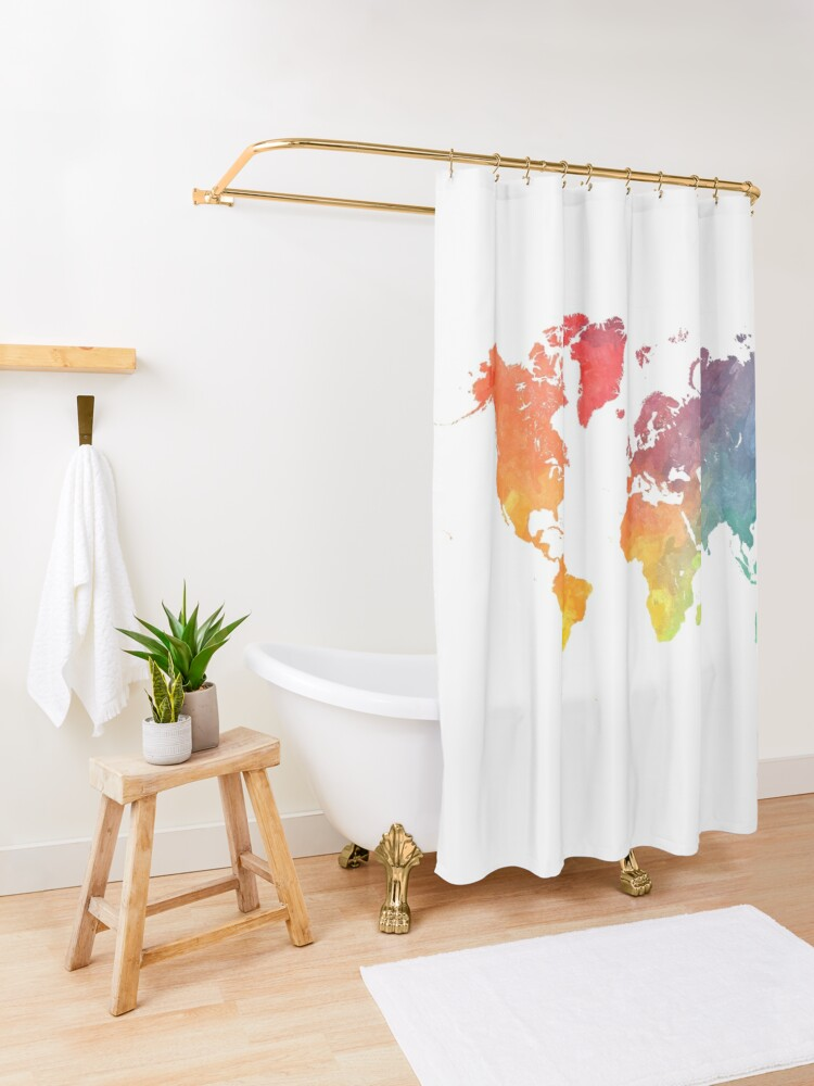 Alternate view of Map of the world colored Shower Curtain