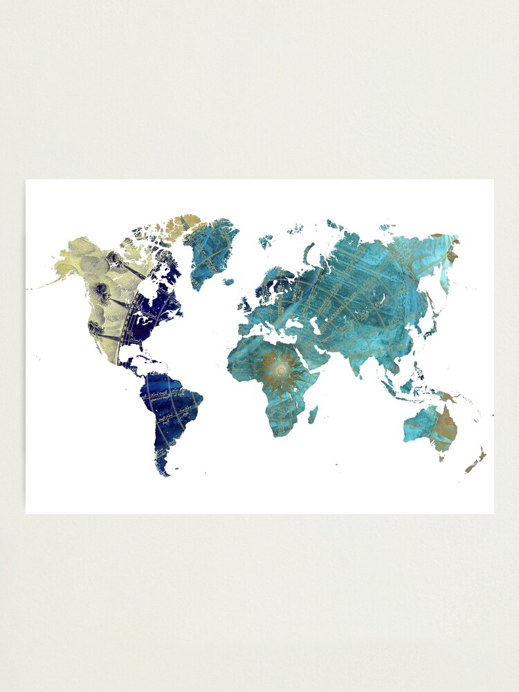 Alternate view of World map wind rose #map #worldmap Photographic Print