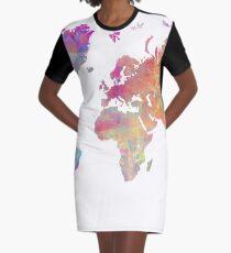 World Map Violet #worldmap #map Graphic T-Shirt Dress