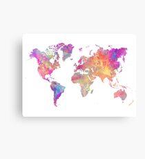 World Map Violet Metal Print