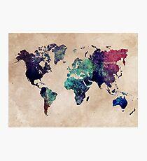 World Map cold World Photographic Print