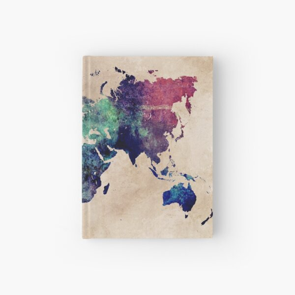 World Map cold World Hardcover Journal