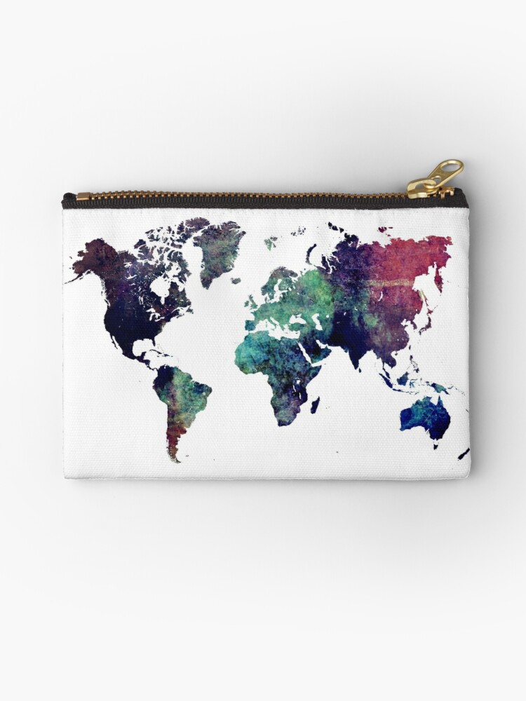 Map World Art After Ice Age Studio Pouches By Jbjart Redbubble