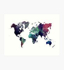 Map world art after Ice age Art Print