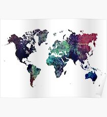 Map world art after Ice age Poster