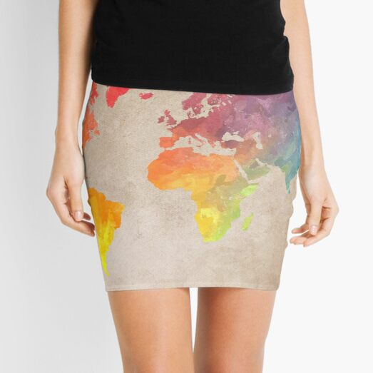 World Map maps Mini Skirt