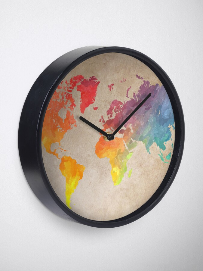 Alternate view of World Map maps Clock
