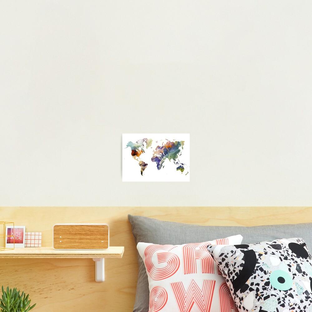 World Map watercolor painting #map #worldmap Photographic Print
