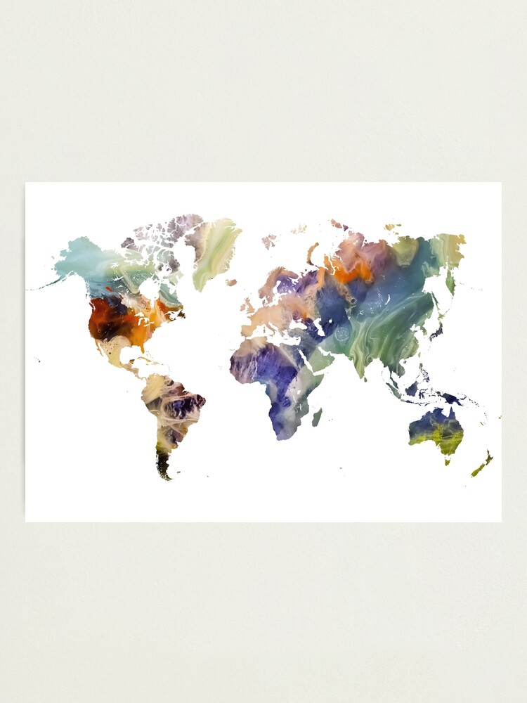 Alternate view of World Map watercolor painting #map #worldmap Photographic Print