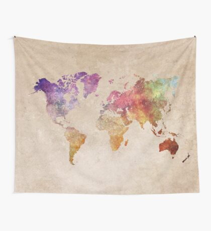 Map of the world art watercolor Wall Tapestry