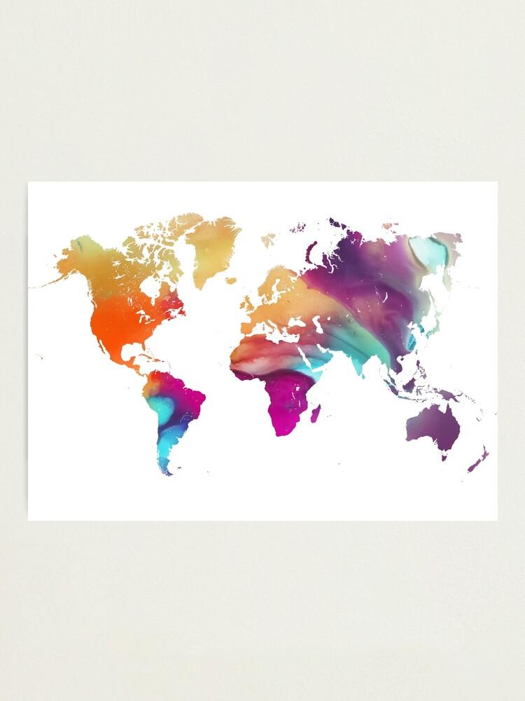 Alternate view of World map watercolor #map #worldmap Photographic Print