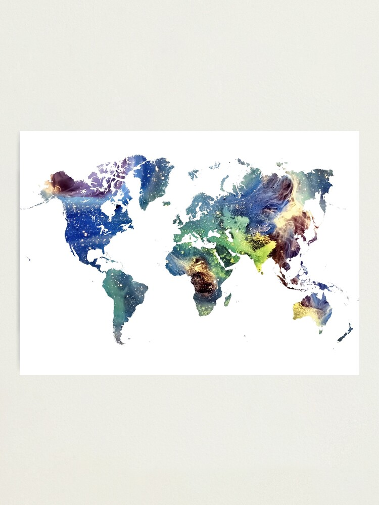 Alternate view of World map cosmos #map #worldmap Photographic Print