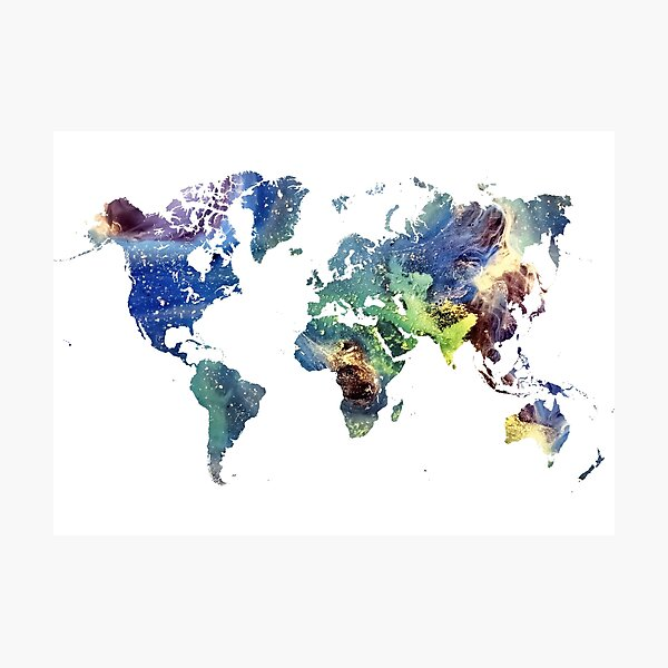 World map cosmos #map #worldmap Photographic Print