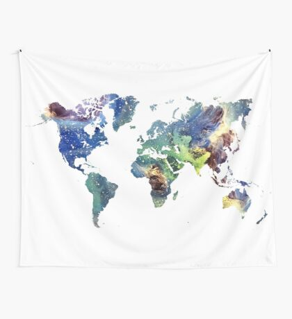 World map cosmos Wall Tapestry