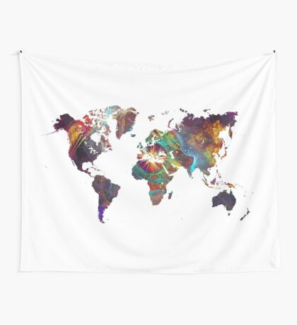 World Map fractal 2 Wall Tapestry