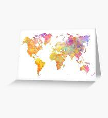 Weltkarte Pastell Grußkarte