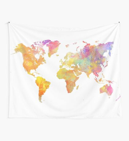 World Map Pastel Wall Tapestry
