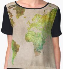 Green World Map ecology Chiffon Top