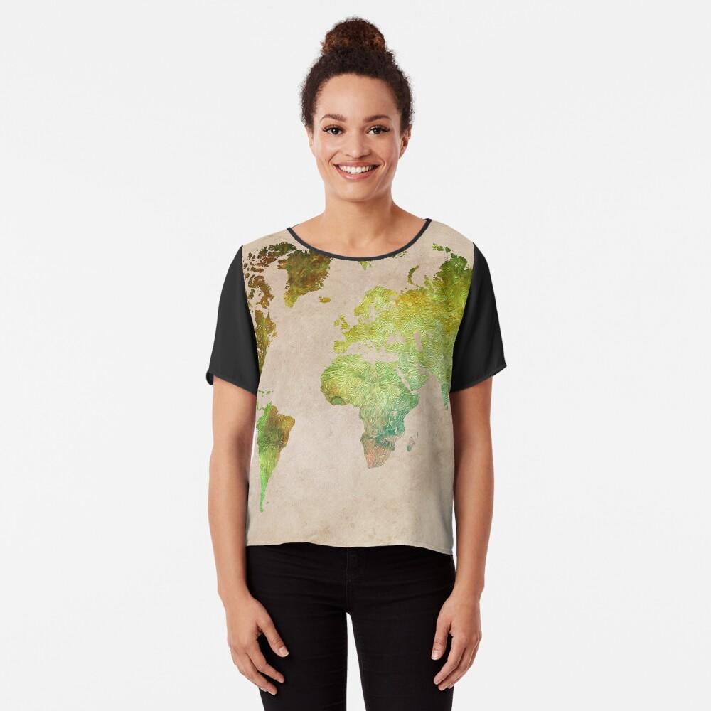 Green World Map ecology #map #worldmap Chiffon Top